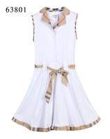 Free Shipping Classic Women's Brand Designer Summer Turn Down Plaid Collar Casual Dress,Sexy Sleeveless Check Dresses White