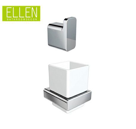 Metal Toothbrush Holder Set With Single Robe hook Square Chrome bathroom accessories(China (Mainland))