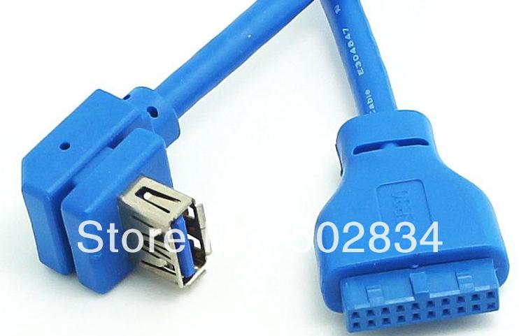 10pcs/lot Motherboard 20 Pin 19P Header USB 3.0 Female Front Panel Bracket Cable DIY(China (Mainland))