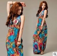 2014 New Bohemian ice silk fabrics Phoenix feather dress mopping female