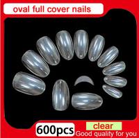 2014 New Arrivals full cover 500 pcs+100 pcs false clear oval nails,salon DIY finger acrylic fake nail tips, free shipping