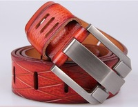 2014 new men belt high quality 100% genuine leather fashion design for male coffee black red yellow 4 colors wholesale drop ship