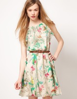 2014 new SUMMER cute flora printing chiffon dress o-neck one piece dress with belt s\m\l\xl