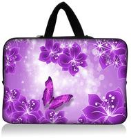 """Purple Flowers15.1""""15.3"""" Neoprene Laptop Sleeve Netbook Pouch Cover Holder Case Bag Protector Handle Waterproof Dustproof"""