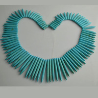 Blue Turquoise Spike Beads Howlite Turquoise 20-50mm Loose Beads 17'' Necklace Making Beads 5pc/lot