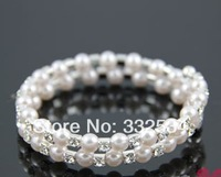 Hot Selling Pretty Bridal Accessory Bracelet Pearls 2 Row Stretch Bangle Wedding Party Jewelry