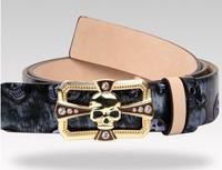 Skull belt male women's strap belt personalized hiphop women's male genuine leather belt