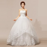 2014 New Style 100% Actual Images Strapless Floor-Length Crystal Backless Lace Wedding Dress Bridal Gown Free Shipping WD006