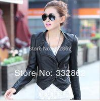 Free shipping 2014 new fashion short Pu small coat Korean locomotive slim slim PU washed leather leather