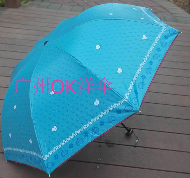 Umbrellas 2014 princess color plastic cotton prints structurein princess apollo three fold love umbrella Free shipping(China (Mainland))