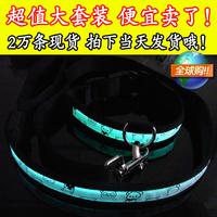 Led fiber optic luminous pet belt dog collar belt leash set 8