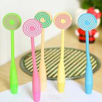 10PCS/LOT Creative stationery wholesale lollipop bending colorful ballpoint pens office supplies