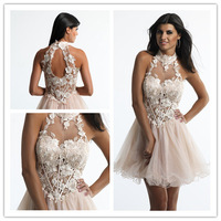 2014 A-line Halter Sleeveless Short Mini Champagne Appliques Organza Cocktail Dresses Homecoming Dresses