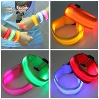 Lovers version of led optical fiber luminous wrist length belt flash arm with button flash bracelet hand ring luminous
