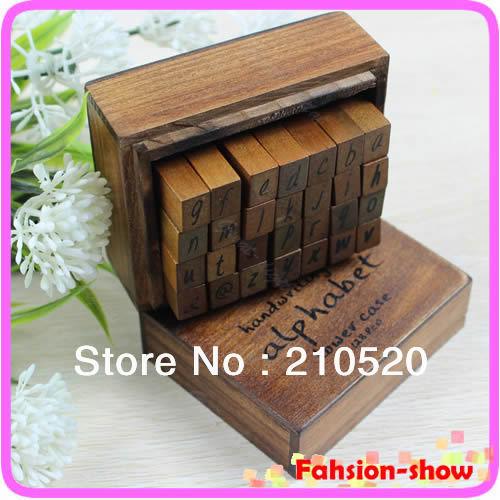 "U95""New Alphabet Handwriting Lower Case + Wooden Box Symbols Rubber Stamp Gift For Kids 28pcs/set Drop Shipping(China (Mainland))"