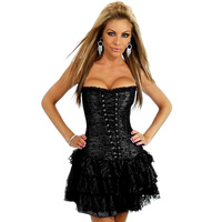 Women's Lace Overlay Boned Corset Sexy Lingerie Satin Corset Dress with Mini Skirt Bustier