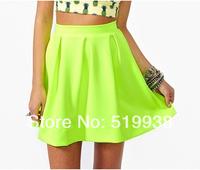 Wholesale 5 pieces/lot 2014 New Women's skirts Spring Summer Neon Green Skater Short Skirt
