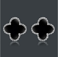 925 Silver colorful clover stud earring for women E208