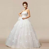 2014 New Style 100% Actual Images Strapless Floor-Length Flowers Backless Lace Wedding Dress Bridal Gown Free Shipping WD007