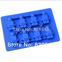 Free Shipping 10pcs/lot Silicone Robot Ice Cube Tray Mold Maker Ice Cream Mold Maker LFGB Ice Mould ice mold
