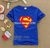 RADT0025   2014  fashion  T-Shirt supper man design  cotton short  T-shirt in summer for boys