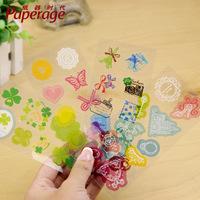 5PCS/LOT DIY albums accessories PVC transparent decor stickers lovely cartoon sticker korean stationery wholesale