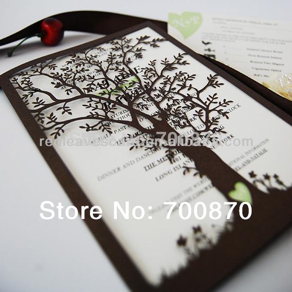 Nova Chegada: IC1402-01 Red Leaves Laser cortar convite do casamento do carvalho Cartão para casamento(China (Mainland))