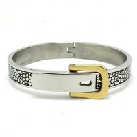 Hot Selling Fashion Jewelry Golden BUCKLE Lovers Bangle 316L Stainless Steel Sliver Best Gift Popular Bangles