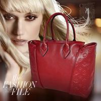 2014 spring and summer fashion bags genuine leather bag handbag women's cowhide cross-body handbag embossed women's handbag