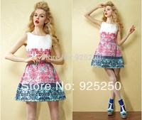 women mini dress spring summer 2014 european style sleeveless geometric floral print high waist sleeveless ruffle tank dress