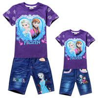 Free shipping!Clothing set 6 sets/lot. Girls fashion Frozen suits (T-shirt + jeans).Children's cartoon suits. Girls summer suit.