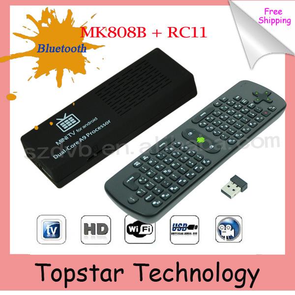 2014 Original MK808B MK808 Android 4.2.2 TV Stick TV Dongle RK3066 Dual Core 1GB 8GB Mini PC MK808B Bluetooth+ RC11 Air Mouse(China (Mainland))