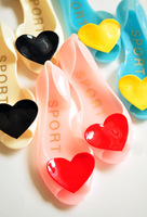 Love heart 2014 multicolour jelly shoes sweet open toe sandals slippers flat jelly shoes