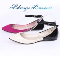 Short in size ! color block decoration banding hasp toe pointed shallow mouth flat shoes women's shoes