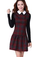 Free Shipping ! Women Plus size Long-sleeve 2014 Summer Slim Dress,Female Elegant Plaid Fashion OL Casual DressesXL XXL XXXL 4XL