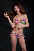 Free Shipping America Style Women Sexy Rainbow Color 2 Piece Bikini Set Girls Hot Nylon Swimwear