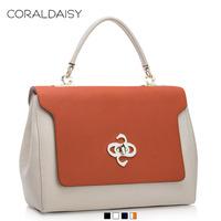 New 2014 Contract Color Brief Genuine Leather Handbag  Cowhide Totes Coraldaisy Fashion Women Leather Handbags