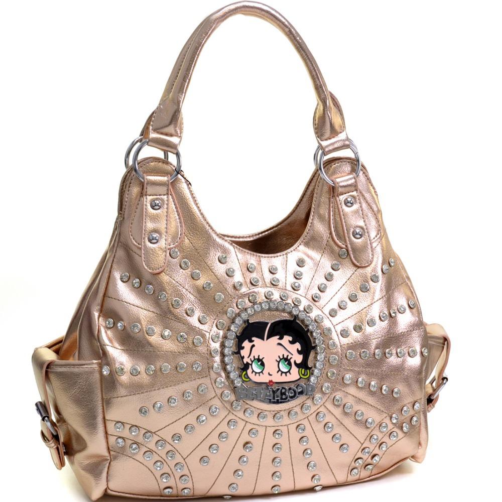 Betty Boop Rhinestone and Multi Studs Shoulder Bag Designer Inspired High Quality Women Leather Handbags with Rhinestones(China (Mainland))
