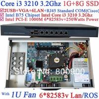 self-service POS 1U firewall router with 6 Gigabit 82583v LAN Intel Core i3 3210 3.2Ghz Wayos PFSense ROS support 1G RAM 8G SSD