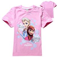 2014 New frozen Girl T shirt Anna Elsa children clothing popular cotton clothes girl clothes cute pink kids clothes