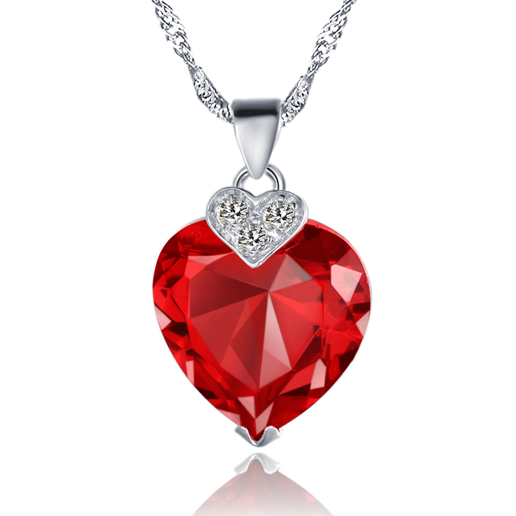 2014 NEW SILVER JEWELRY ! 925 Sterling silvery red round crystal jewel Pendant roll chain women/girl Fshion necklace NIE017(China (Mainland))