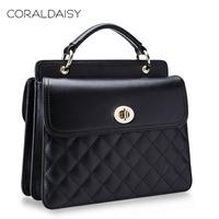 Women Messenger Bag New 2014 Genuine Leather Handbag Quilting Cowhide Totes Coraldaisy Fashion Women Leather Handbags