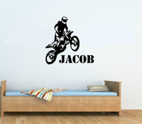 Personalised Any Name Motorbike Motocross Wall Art Wall Decal Vinyl Kids Boys Wall Sticker  Paper Home Decor
