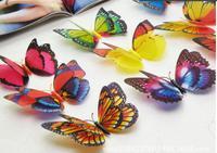 Cute 30pcs 12cm 3D Artificial Butterfly Luminous Fridge Magnet Decor For Home Christmas Wedding Decoration