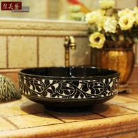 Resolved platform basin wash basin new classical sanitary ware ceramic black stencilling bathroom wash basin 171