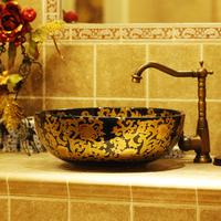 Handmade ceramic wash basin chinese style wash basin laciness basin 1074