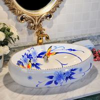 Ceramic home wash station colored drawing fashion wash basin oval table basin 260