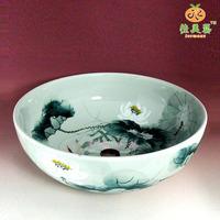 Bathroom wash basin counter basin chinese style lotus bowl fresh rustic vanities ceramic round 829