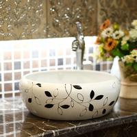Bathroom wash basin drum wash basin ceramic brief black-and-white 296