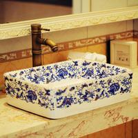 Modern bathroom ceramic counter basin double layer Large square wash basin multicolour basin 276